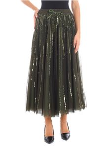 Parosh - Green tulle skirt with sequined embroidery