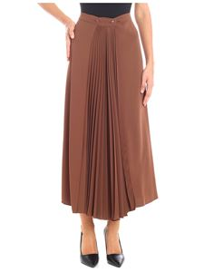 KI6? Who are you? - Brown long skirt with pleated details