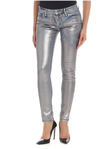 Blugirl - Silver jeans with metallic print