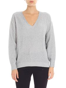 Kangra Cashmere - White and grey pullover with lamé inserts