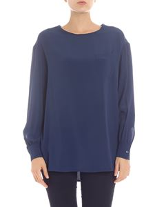 KI6? Who are you? - Blusa blu con tasca a toppa