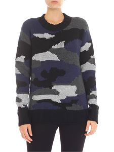 Parosh - Black and blue camouflage pullover