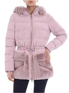Diego M - Pink down jacket with fur inserts