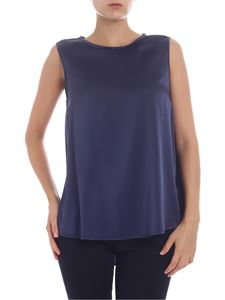 KI6? Who are you? - Top blu in raso di seta stretch