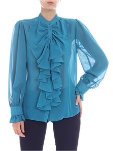 Blugirl - Teal colored shirt with ruffles