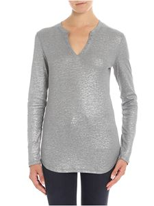 Majestic Filatures - Lamé grey serafino t-shirt