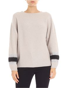 Lorena Antoniazzi - Dove grey turtleneck with micro sequins