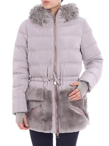 Diego M - Pearl grey down jacket with fur inserts