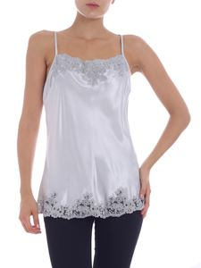 Ermanno by Ermanno Scervino - Pearl grey top with lace inserts