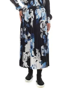 Off-White - Floral print pleated silk skirt