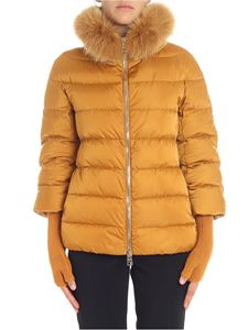 Herno - Mustard-colored down jacket with fur insert