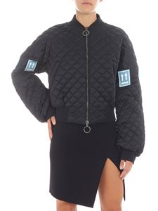 Off-White - Quilted dark blue leather jacket