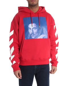 Off-White - Printed red hoodie