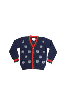 Gucci - Blue cardigan with tiger inlays