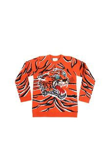 Gucci - Orange pullover with tiger embroidery