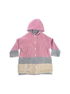 Simonetta -  Pink grey and cream hooded coat