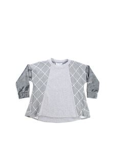 Simonetta - Grey t-shirt with velvet sleeves