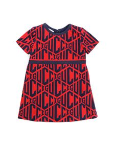 Gucci - Red dress with all-over blue logo embroidery
