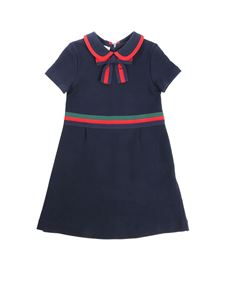 Gucci - Blue dress with grosgrain ribbon