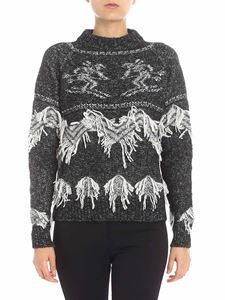Lorena Antoniazzi - Black and white pullover with fringed details