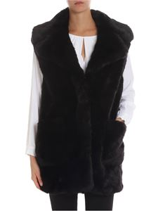Dondup - Black eco-fur waistcoat with lapels