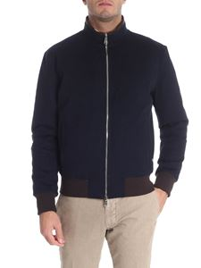 Barba - Blue reversible wool down jacket