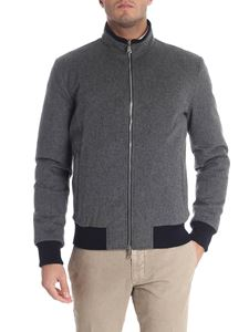 Barba - Grey melange reversible wool down jacket