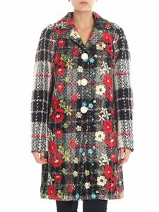 Diego M - Black and white coat with floral embroidery