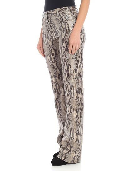 MSGM - Beige and black animalier trousers