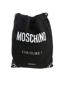 Moschino - Black drawstring bag with fabric logo