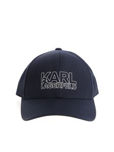 Karl Lagerfeld - Blue cap with white logo print