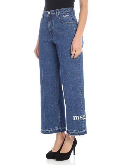 MSGM - Blue palazzo jeans with logo