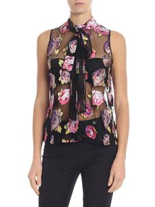 MSGM - Black floral embroidered top