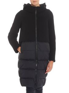 Herno - Black down jacket with knitted insert