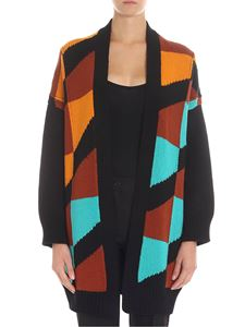 M Missoni - Black cardigan with multicolor embroidery