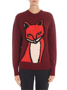 Parosh - Burgundy pullover with fox inlay