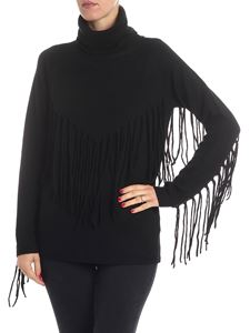 Parosh - Black turtleneck with fringes
