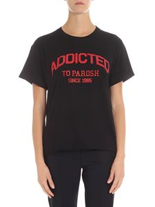 Parosh - Black t-shirt with red logo print