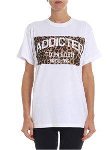 Parosh - White t-shirt with animalier print