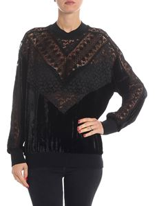 Stella McCartney - Black lace and velvet sweatshirt
