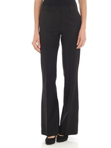 Parosh - Black palazzo diagonal fabric trousers