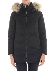 ADD - Black technical fabric long down jacket