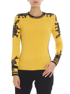 Ermanno Scervino - Yellow pullover with black lace embroidery