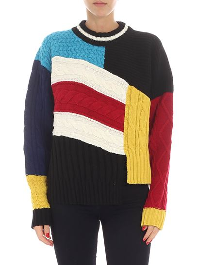 MSGM - Asymmetric colorblock knitted pullover