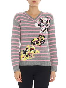 Ermanno Scervino - Grey and pink striped cashmere sweater