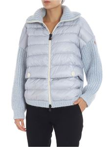 Moncler Grenoble - Light-blue cardigan with padded detail