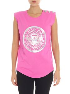 Balmain - Pink top with silver logo print