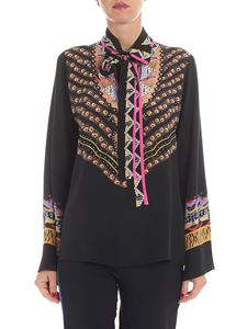 Etro - Black blouse with multicolor print