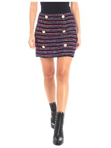 Balmain - Red and blue bouclé skirt