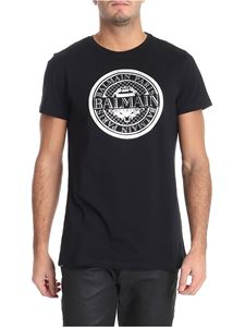 Balmain - Black t-shirt with silver logo print